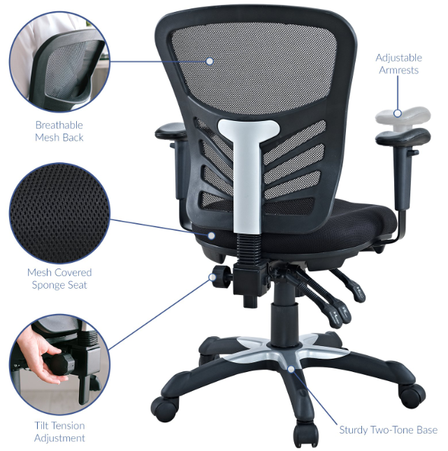 Feature of articulate mesh office chair