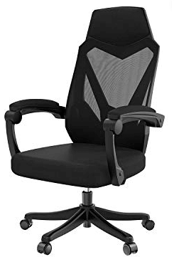 lumber support chair in black color