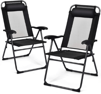 Giantex Outdoor Portable Chairs with Metal Frame