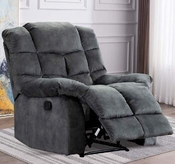 ANJHome Overstuffed Breathable Fabric Recliner