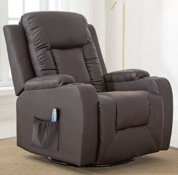Comhoma 360 Degree Swivel Leather Recliner