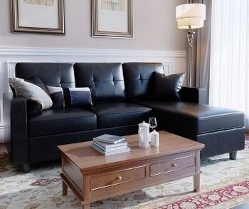 HONBAY Faux Leather ConvertibleSectional Couch